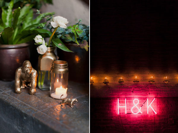 wedding decor for warehouse loft venue including neon wall monogram and gold decor