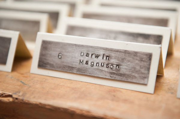 wood and metal engraved escort cards