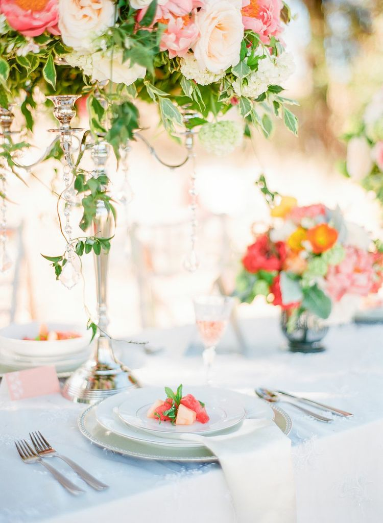 Chandara Creative melon food styling as seen in Style Me Pretty, summer tablescape