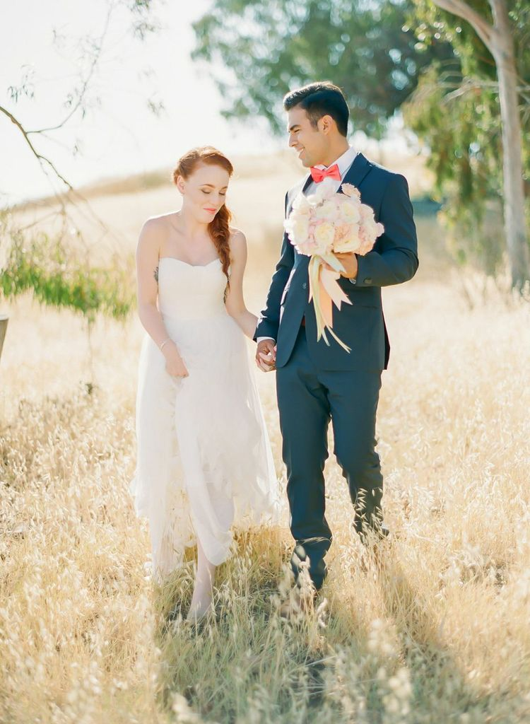 Bride and groom, wedding bouquet styled by Chandara Creativeas seen in Style Me Pretty