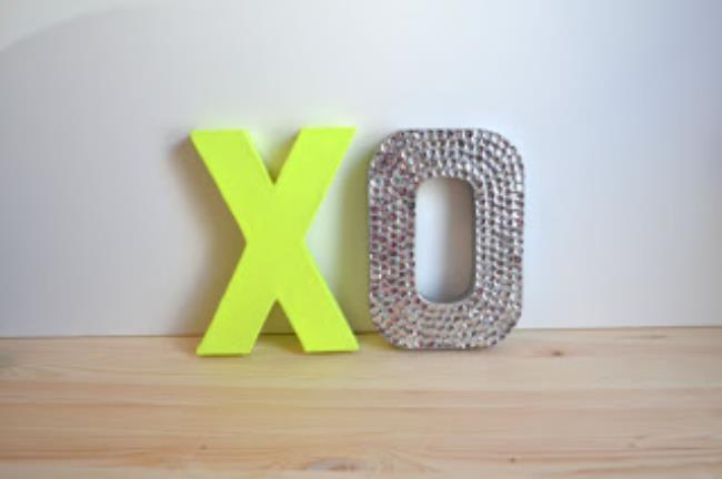 glittering and neon XO sign as wedding decor
