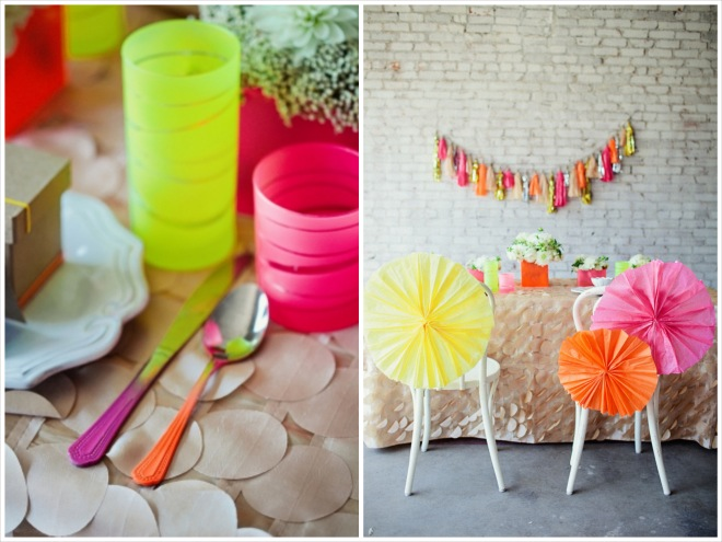 neon wedding decor including DIY paper chair poofs and neon cups and flatware