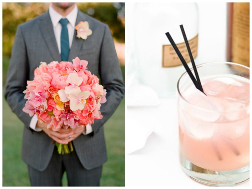 Peach, Wedding, Bouquet, Drink, Signature Cocktail, Cardamom