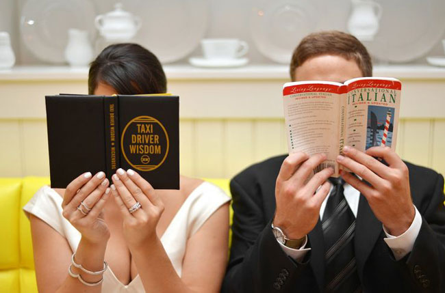 books couple wedding bride