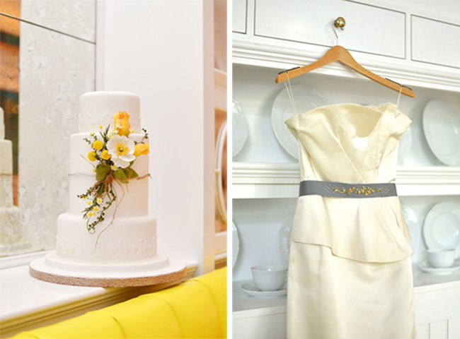 wedding cake yellow iris winifred bean gown