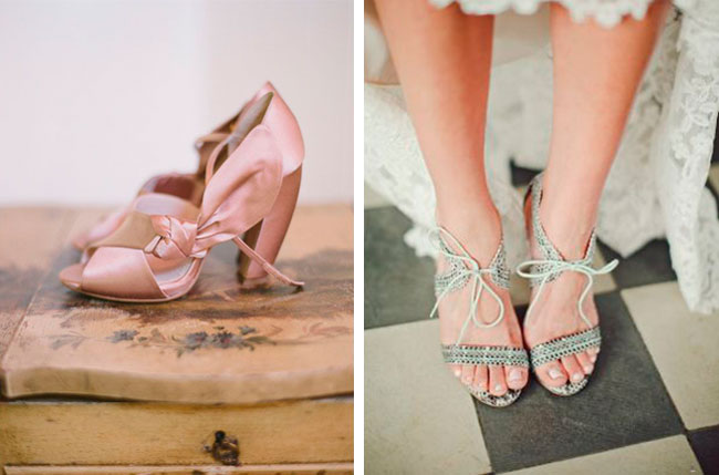 peach bridal shoes bow city bride