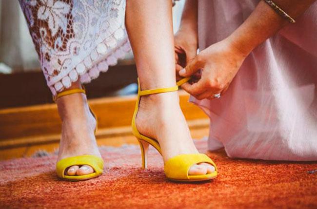 yellow bridal shoes brooklyn wedding