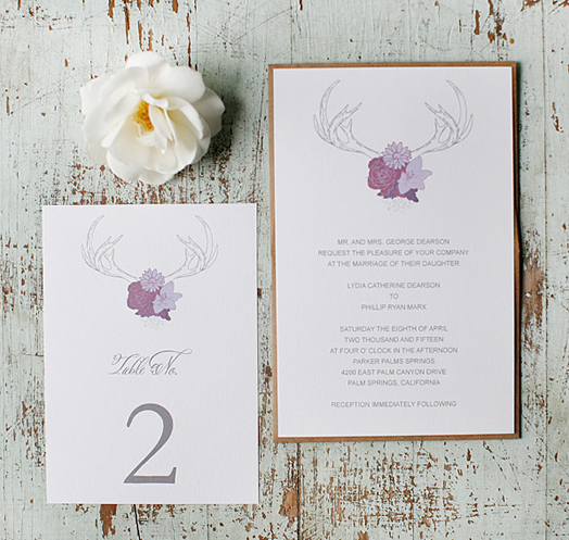 Stationery, Lavender, Purple, Antlers, Rustic, Invitations, Roses