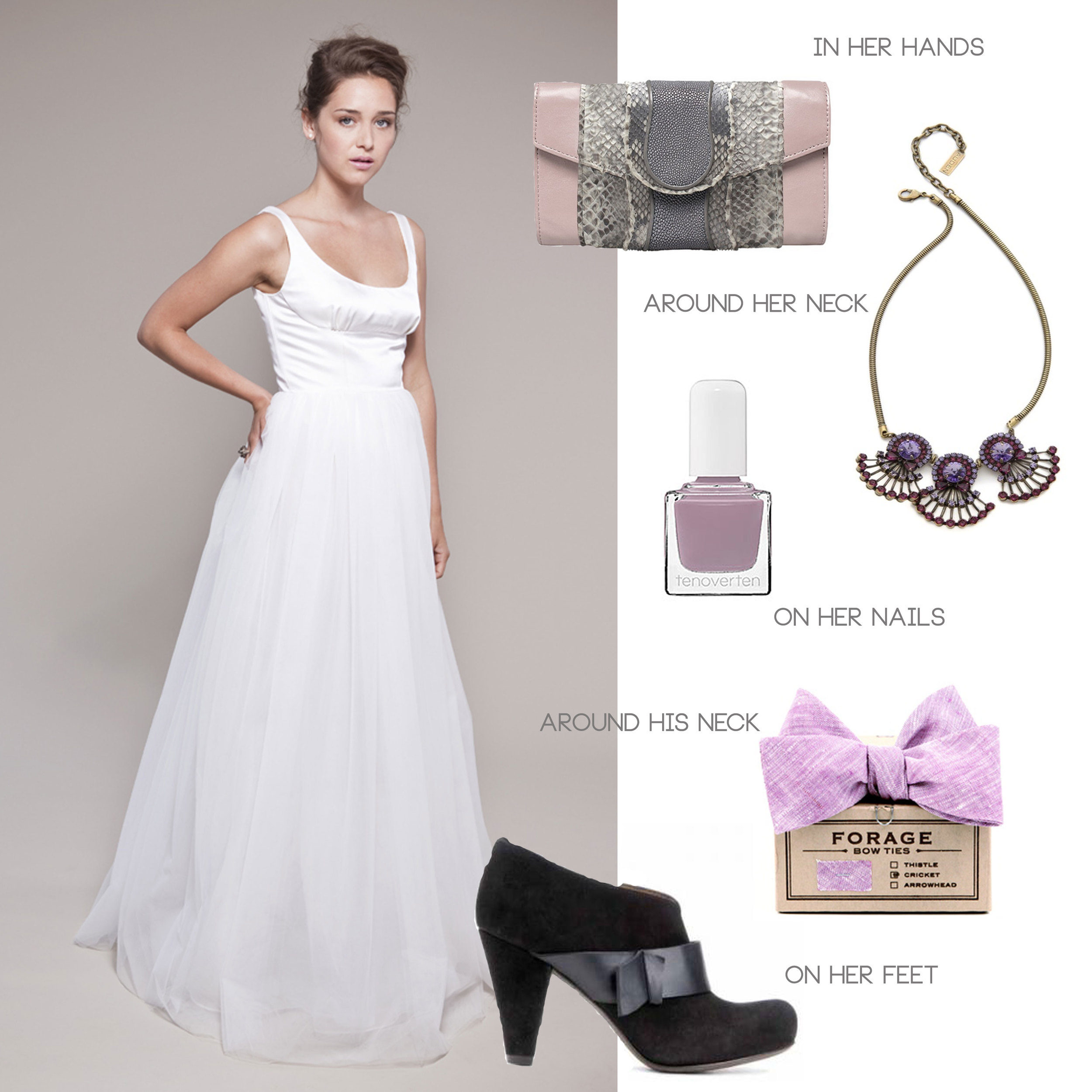 Wedding, Bridal, Fashion, Gown, Clutch, Nail Polish, Lavender, Purple, Booties, Bow Tie, Lilac, Necklace, Crystals