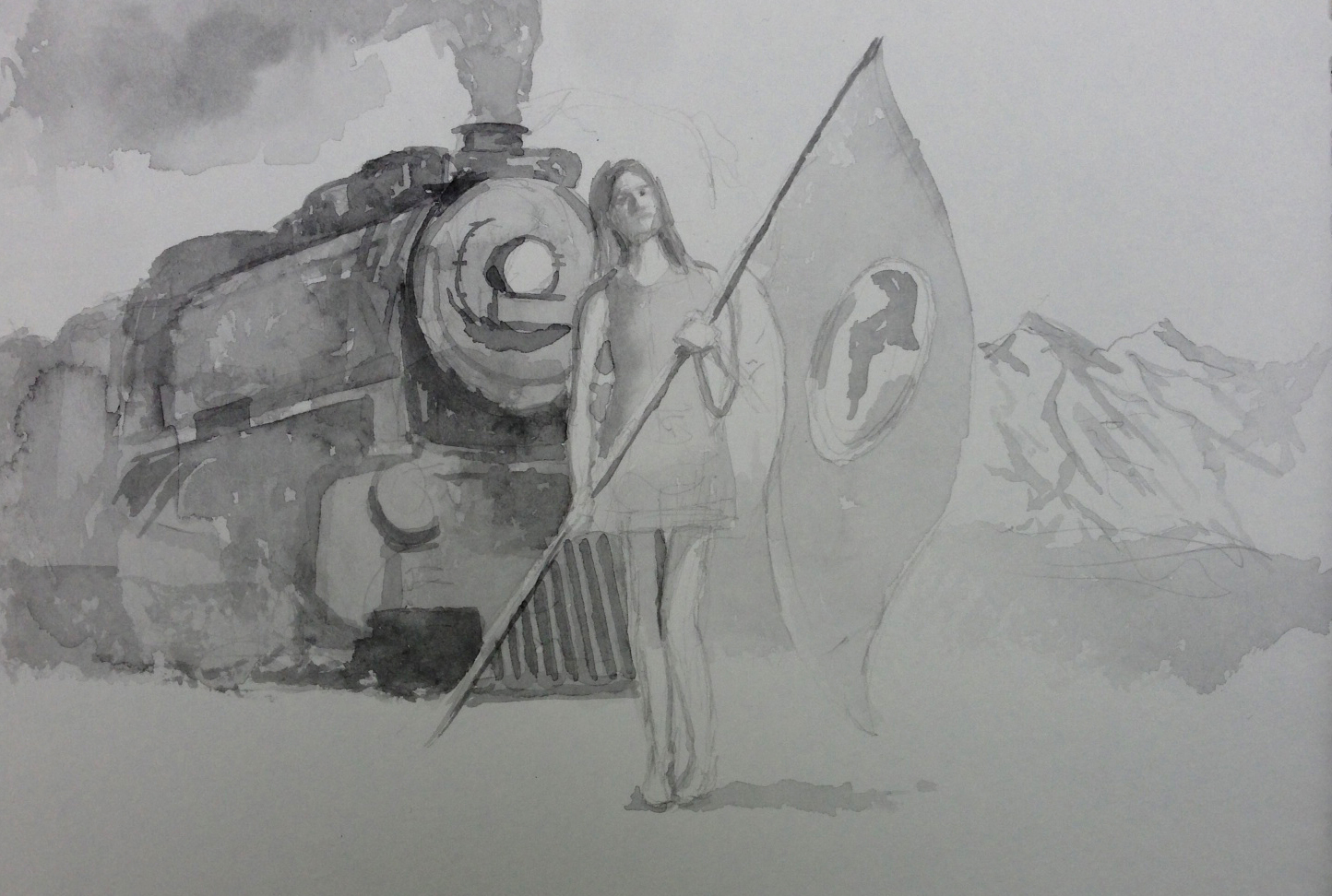 Standing Woman with World Flag, Train and Mountains in Background