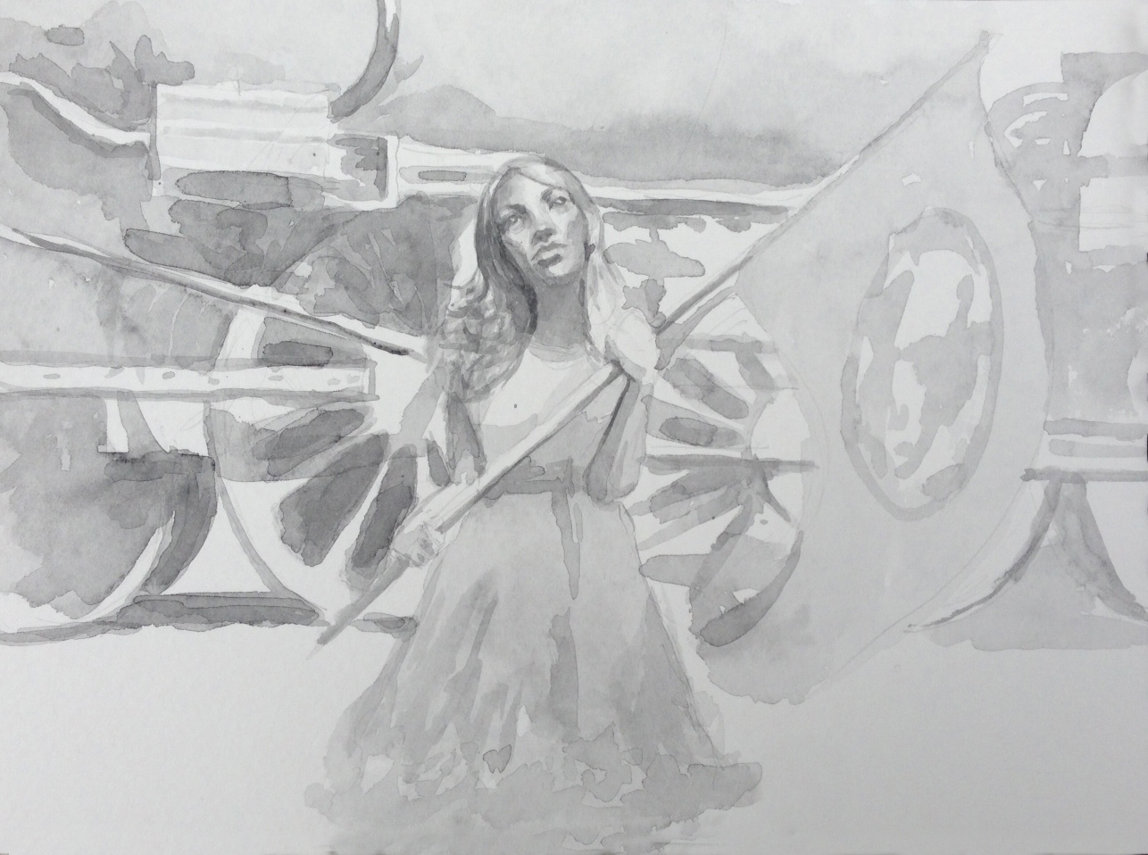 Woman with World Flag, Train Background