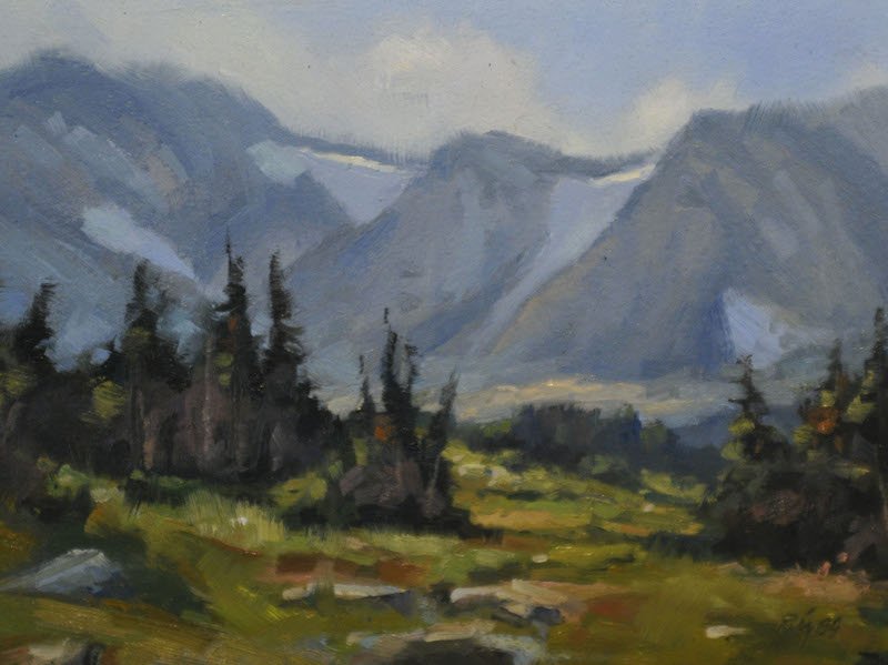 "High Sierras   , Oil on Panel, 6""x 8"""