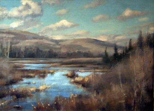 "Highland Bog,   Oil on Panel, 8""x 10"""
