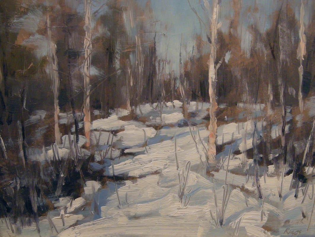 "Snowy Woods,   Oil on Panel, 9""x 12"""