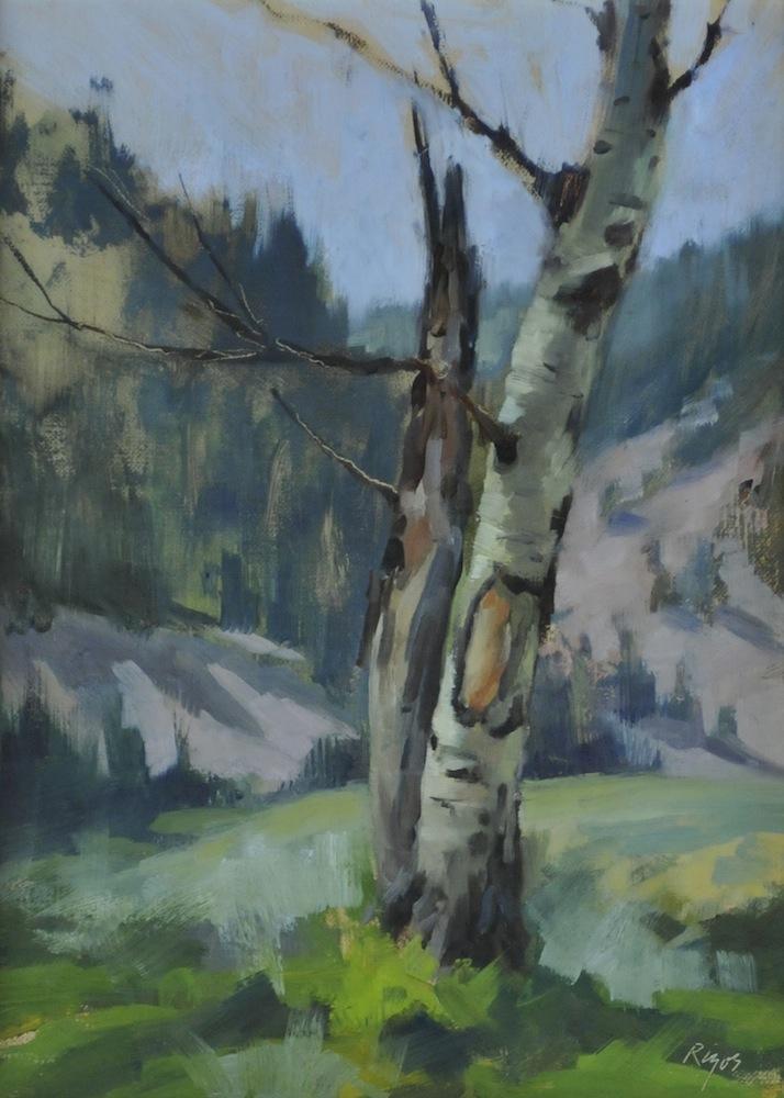 """Split Tree,   Oil on Panel, 10""""x 12"""""""