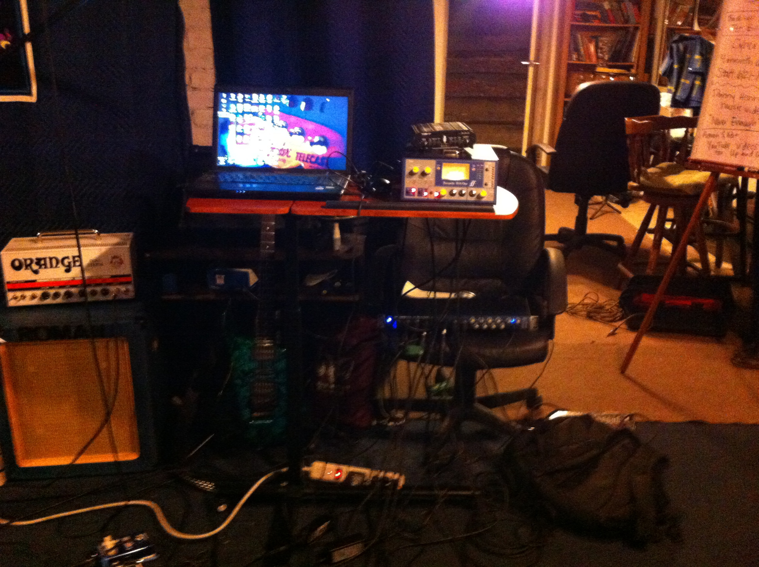 Pat's Focusrite ISA into a Presonus Audiobox fed into his laptop with Acoustica Mixcraft 6 as the DAW.
