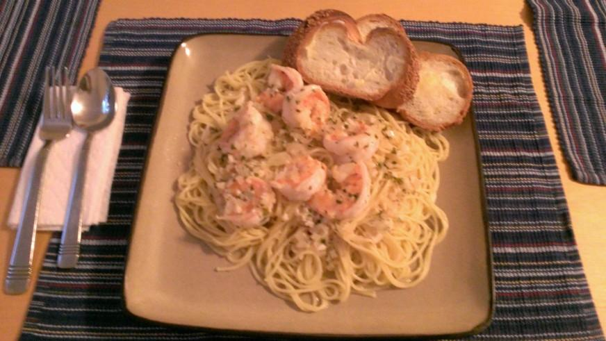 Pete's delicious Shrimp Scampi dish for dinner.