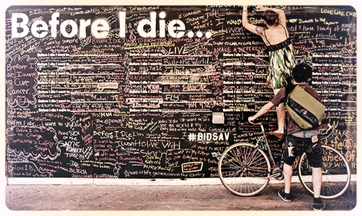 "In early 2011, artist, designer, and TED Fellow Candy Change   covered an abandoned house in her New Orleans neighborhood in chalkboard paint and stenciled on it a grid of the deceptively simple unfinished sentence ""Before I die I want to ...""    which any passerby could complete with a piece of chalk and a personal aspiration."