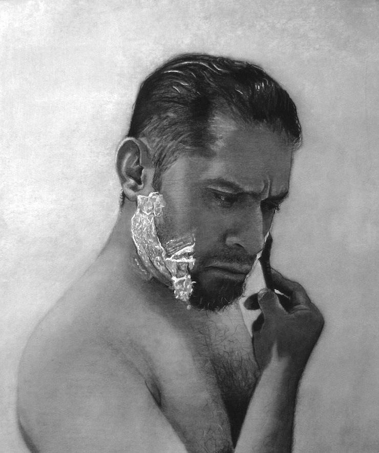 Artist Shaving  Charcoal on Paper   14 x 17