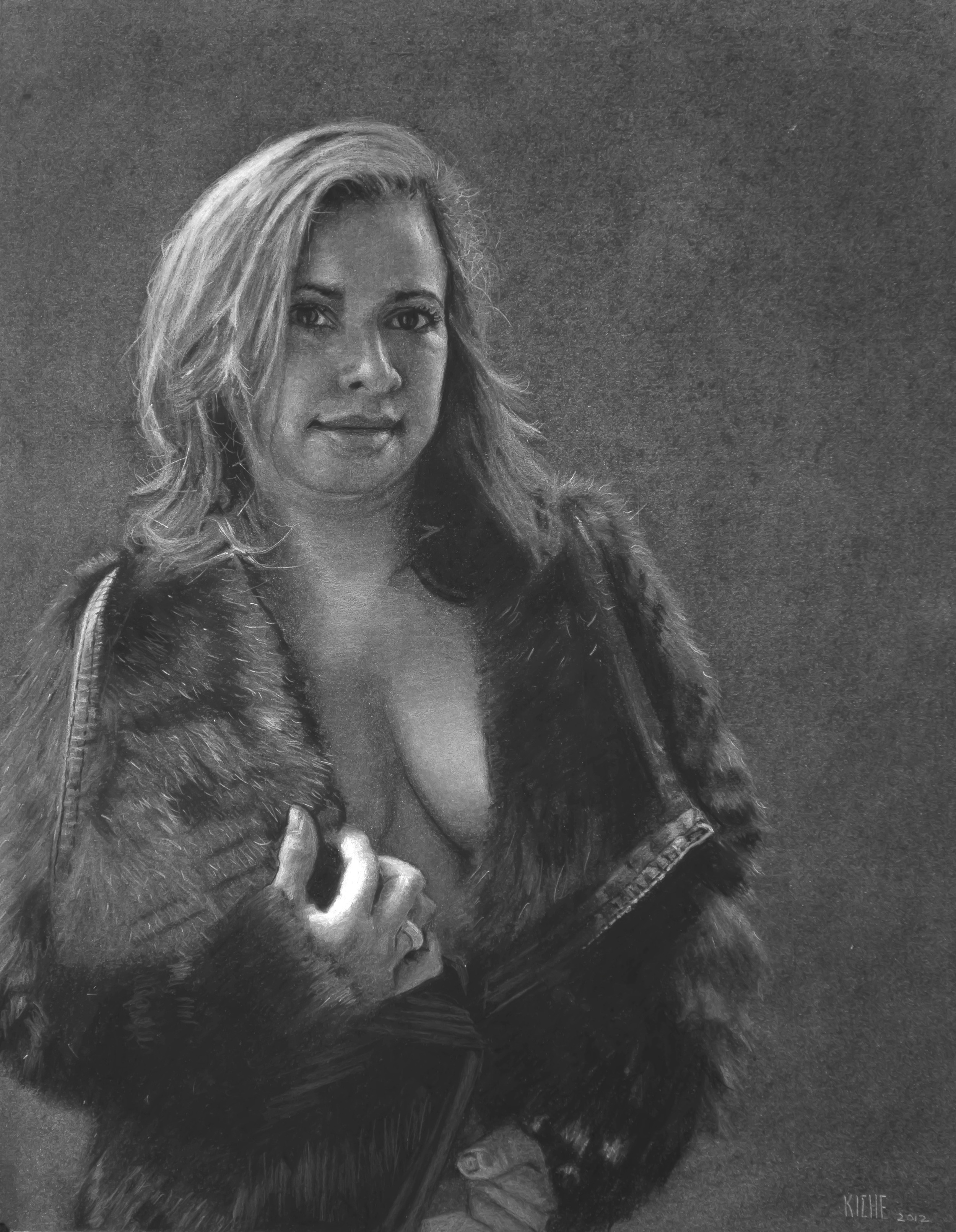 Lady in Fur Coat  Charcoal on Paper   14 x 17