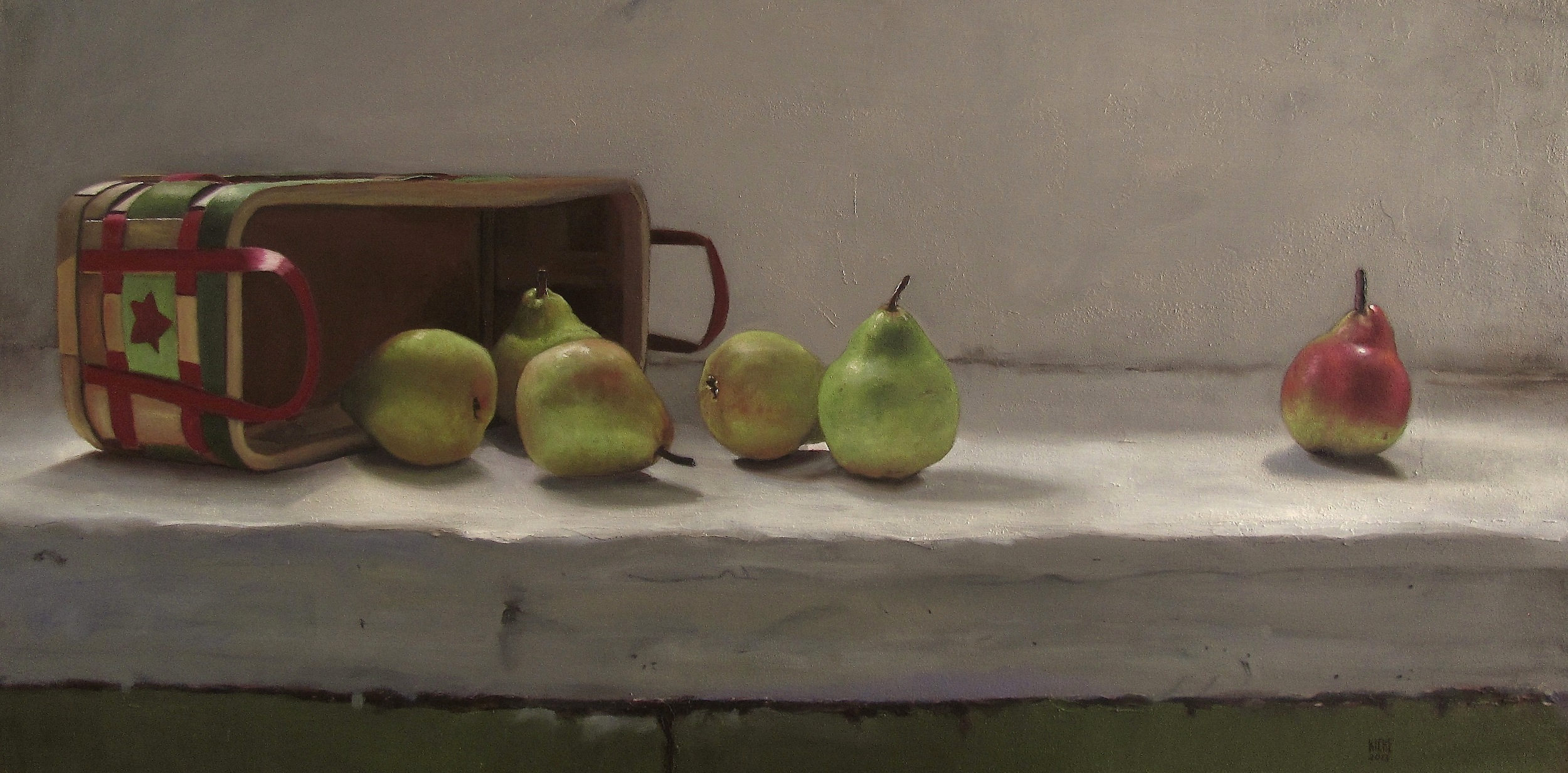 Basket Of Pears  oil on wood panel 24 x 48