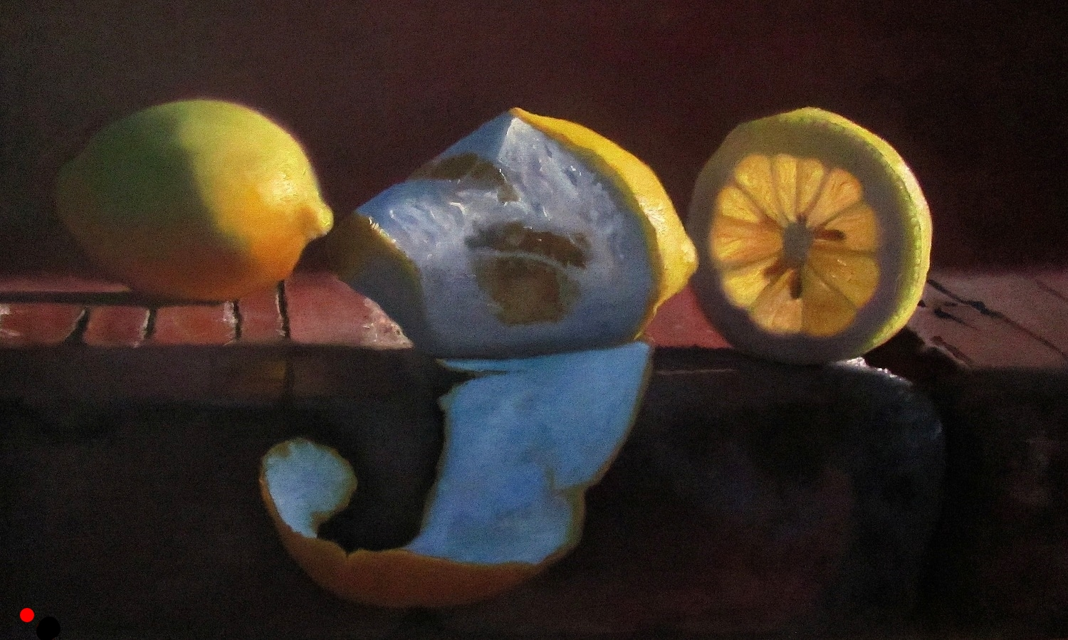Lemons on Brick Wall  oil on wood panel 12 x 22
