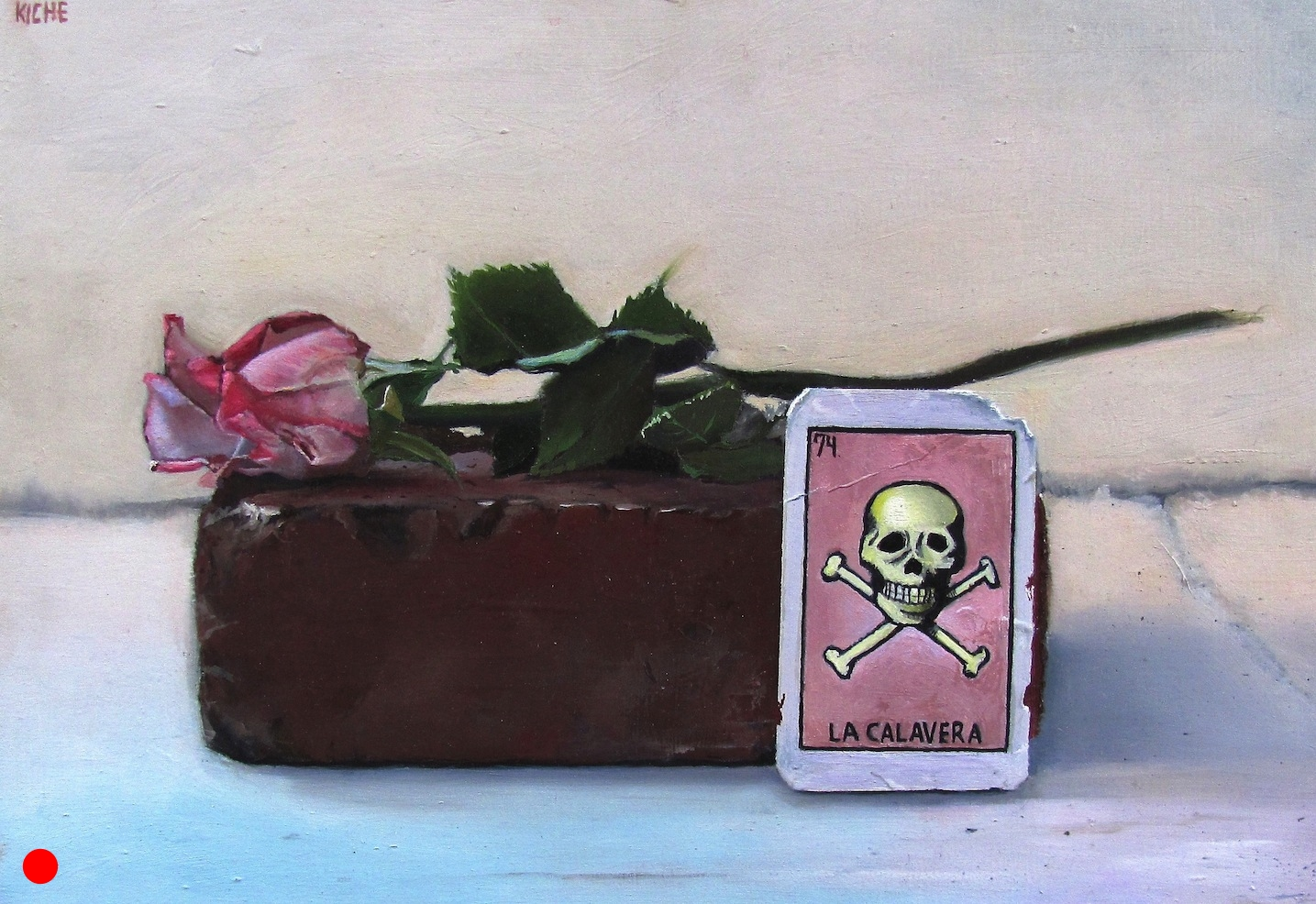 Rose and the skeleton  oil on wood panel 8 x 11 SOLD