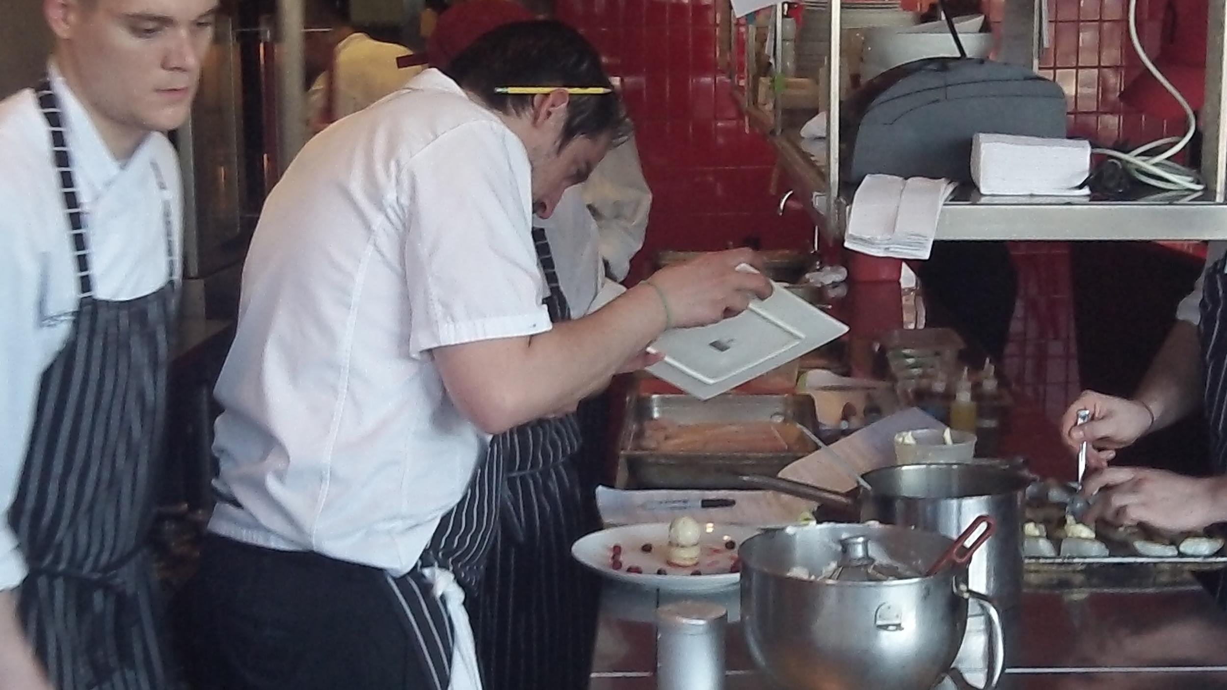 Chef Derek works on dessert