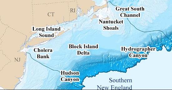 Map of Southern New England waters. Credit: NOAA