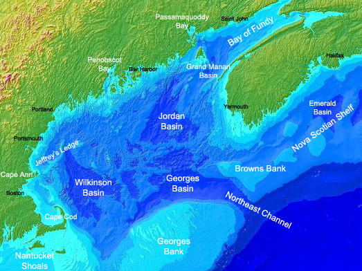 Map of the Gulf of Maine. Credit: NOAA