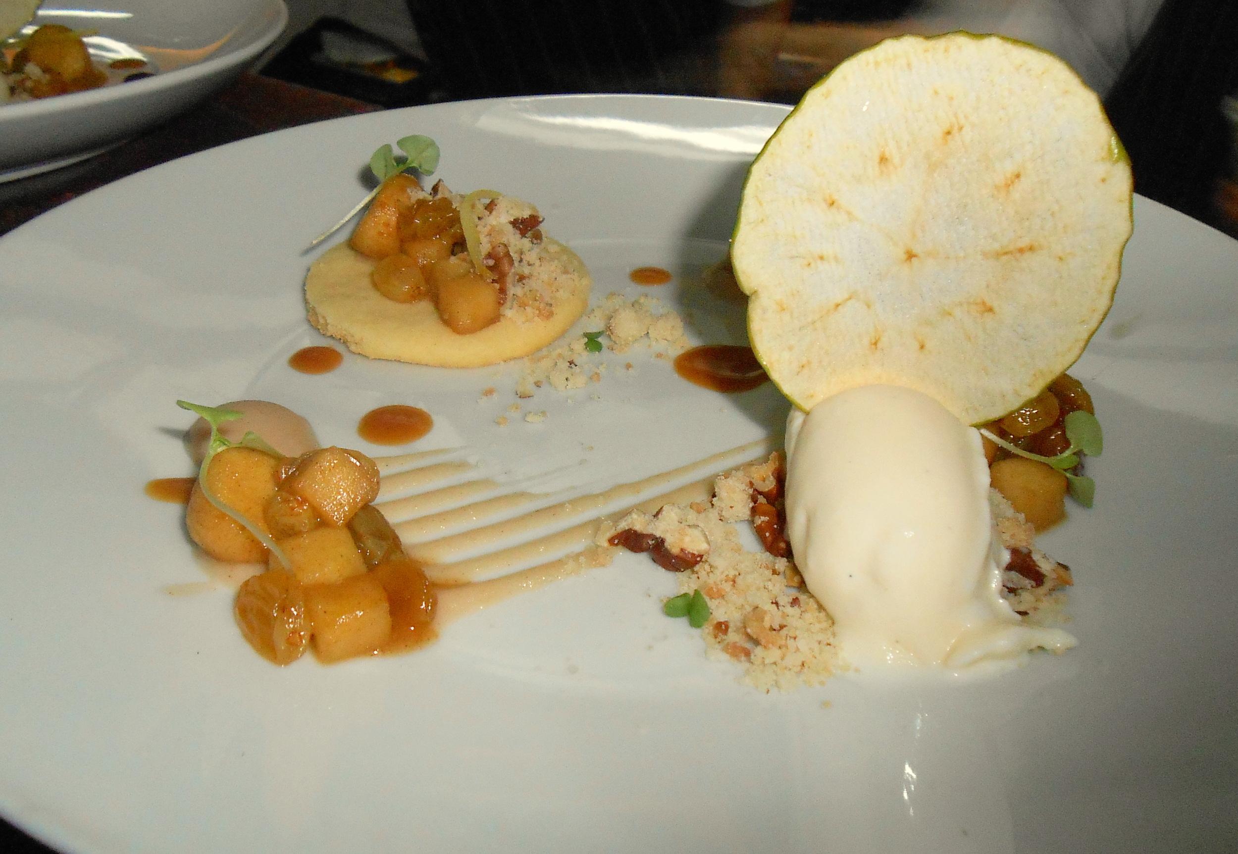 Deconstructed apple tart, with short bread, gala apple, pecan crumb, salted caramel, and vanilla bean gelato