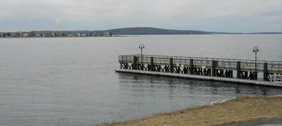 The view from the Boat House: where the Sakonnet River meets Mt Hope Bay. The hill across the waters i Mt. Hope, Bristol.