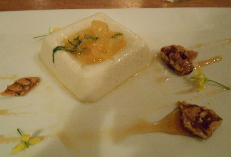 Dessert: Blanc Mange  Irish Moss-Vanilla custard, Aquidneck Honey, almond brittle. With Irish Moss collected from Brenton Point, Newport