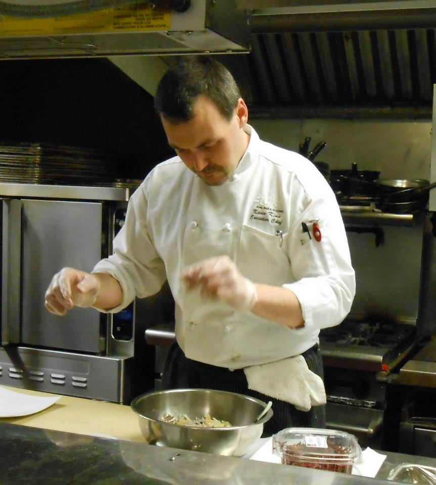 The man behind the meal: Chef Kevin at work in the kitchen.