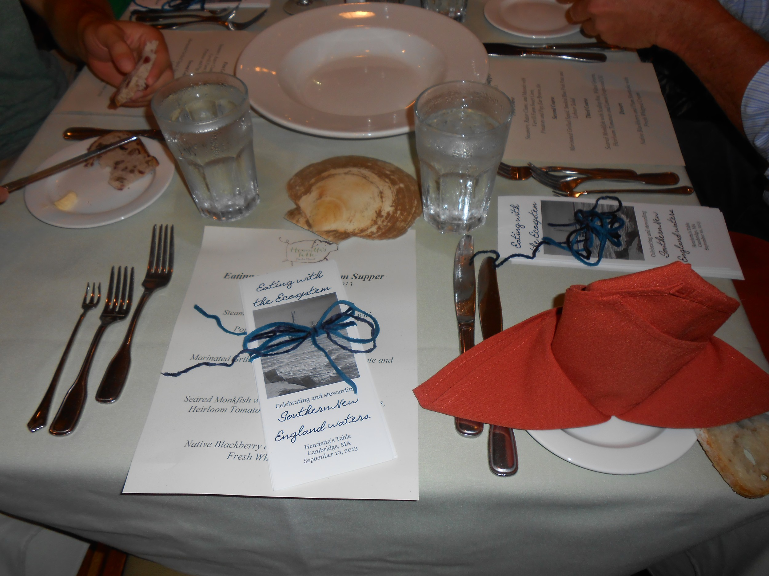 Place settings (note the little shellfish fork on the far left).