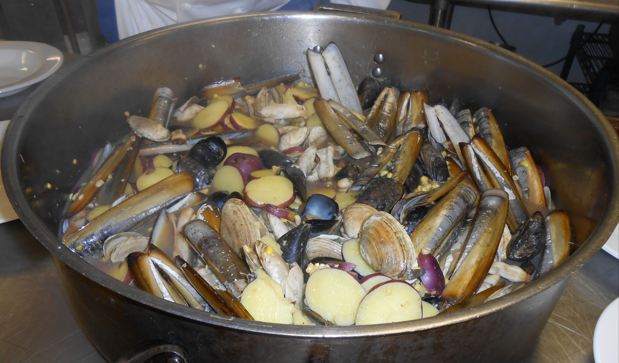 Steamers, Razor Clams and Mussels with Verrill Farm Sweet Corn, Potatoes and Pigs Ear Brown Ale