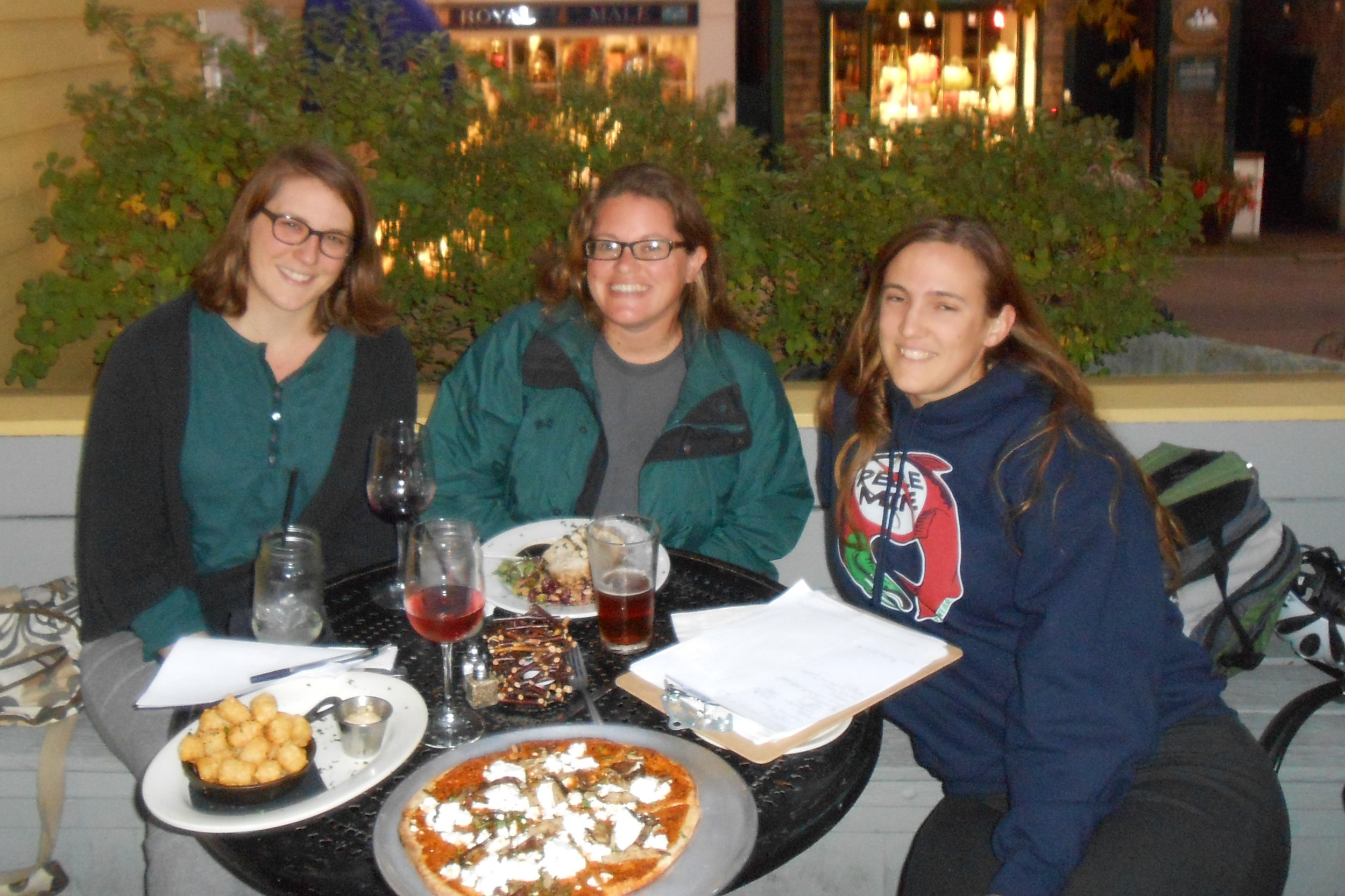 The coordinating committee: Caitlin, Stephanie, and Sarah