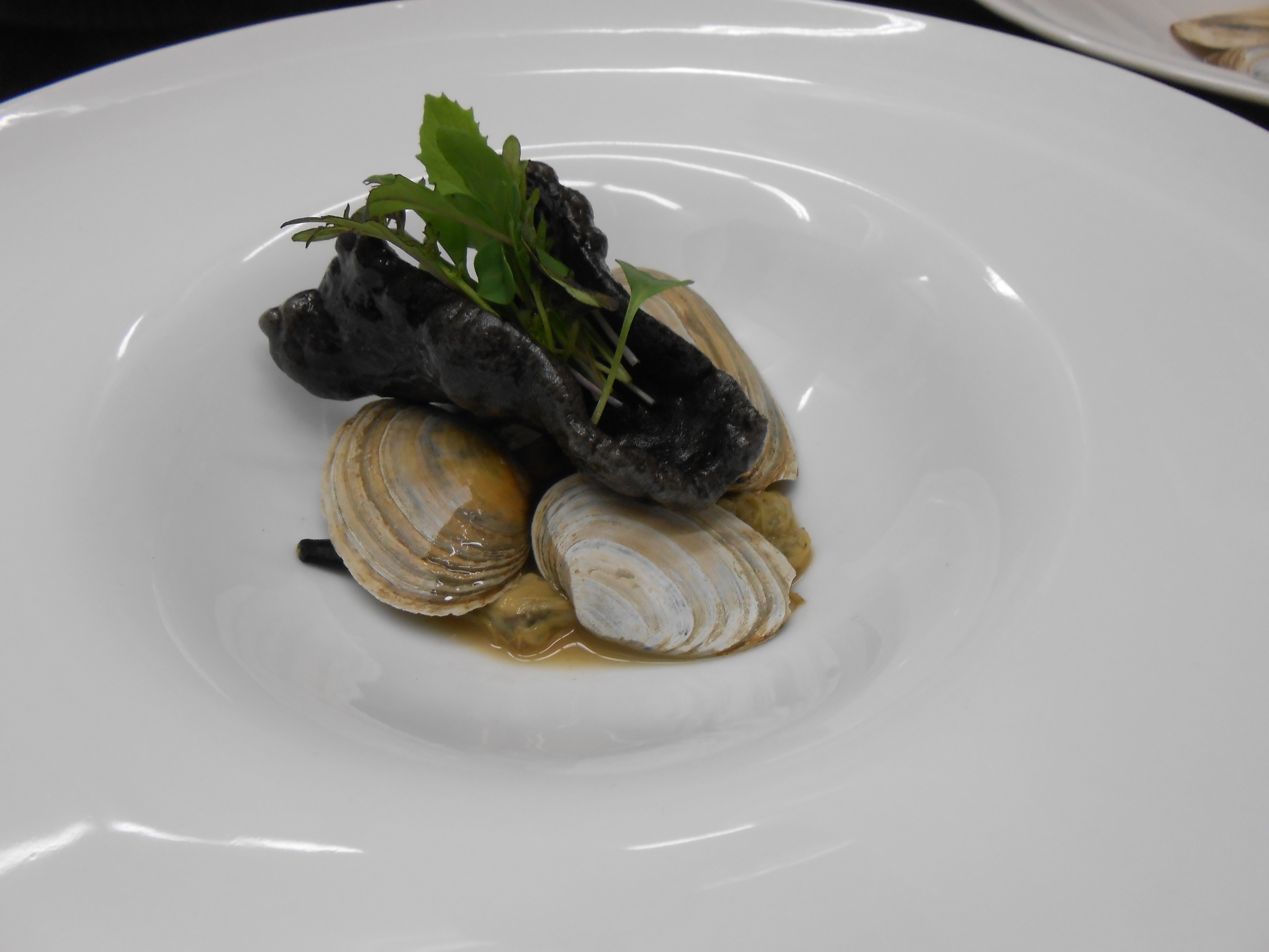 Second course: Steamers with Sake, Ginger, Soy Sauce, Prawn Crackers, Herbs, and Blossoms
