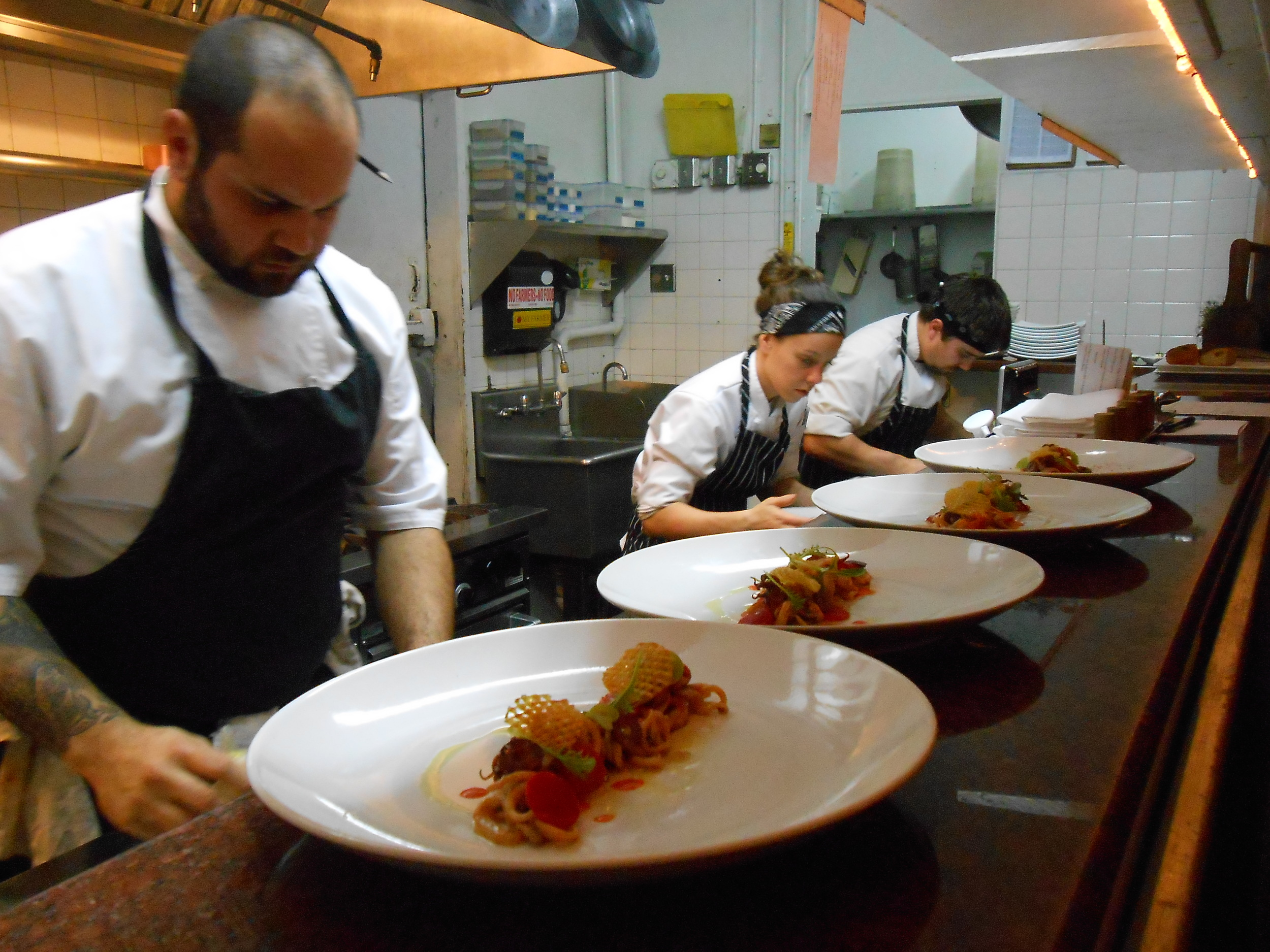 Plating the squid dish