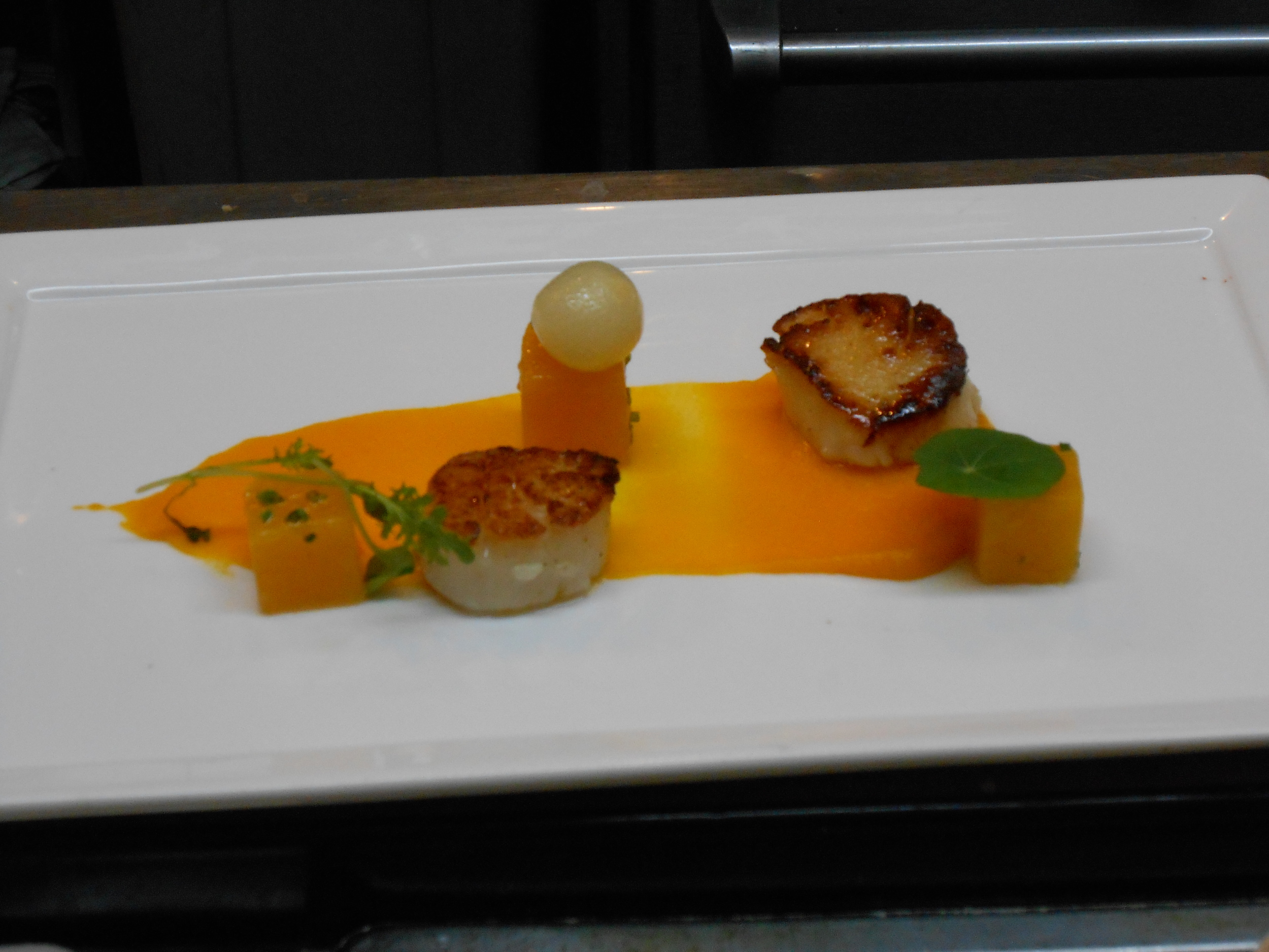 Second course: Scallops with butternut squash, curry, and coconut
