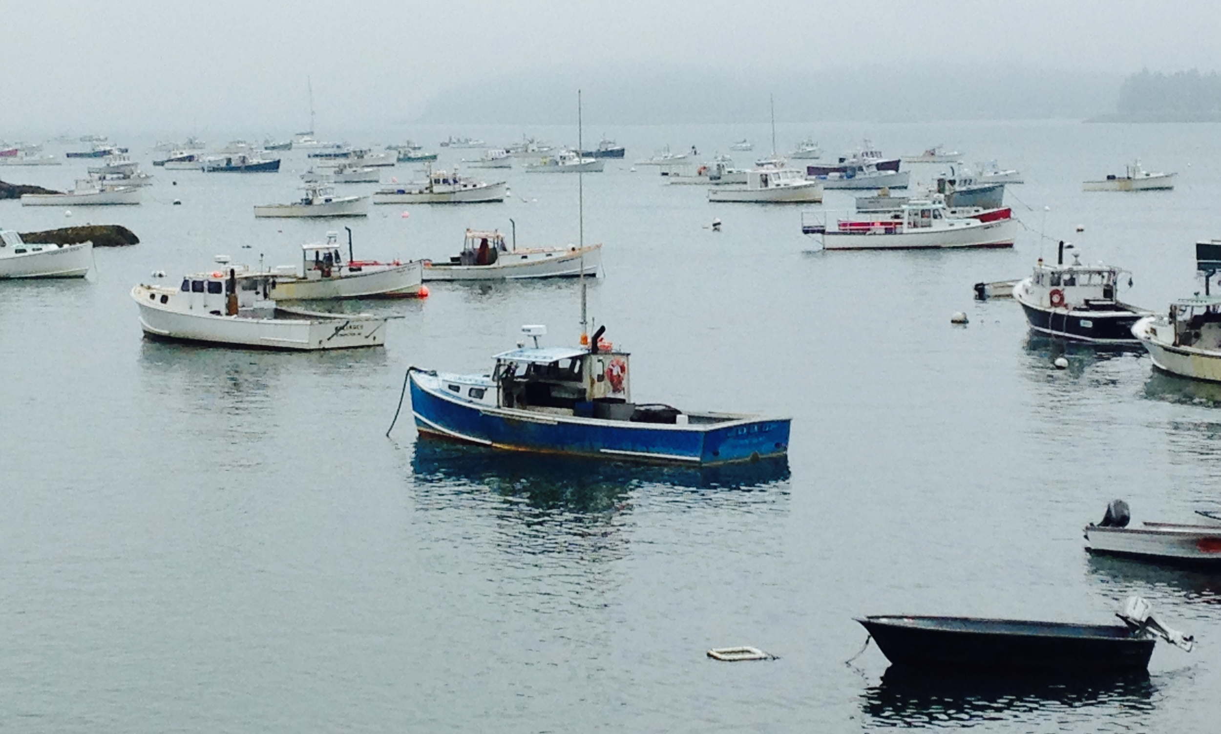 Lobster boats on their moorings in stonington, Maine