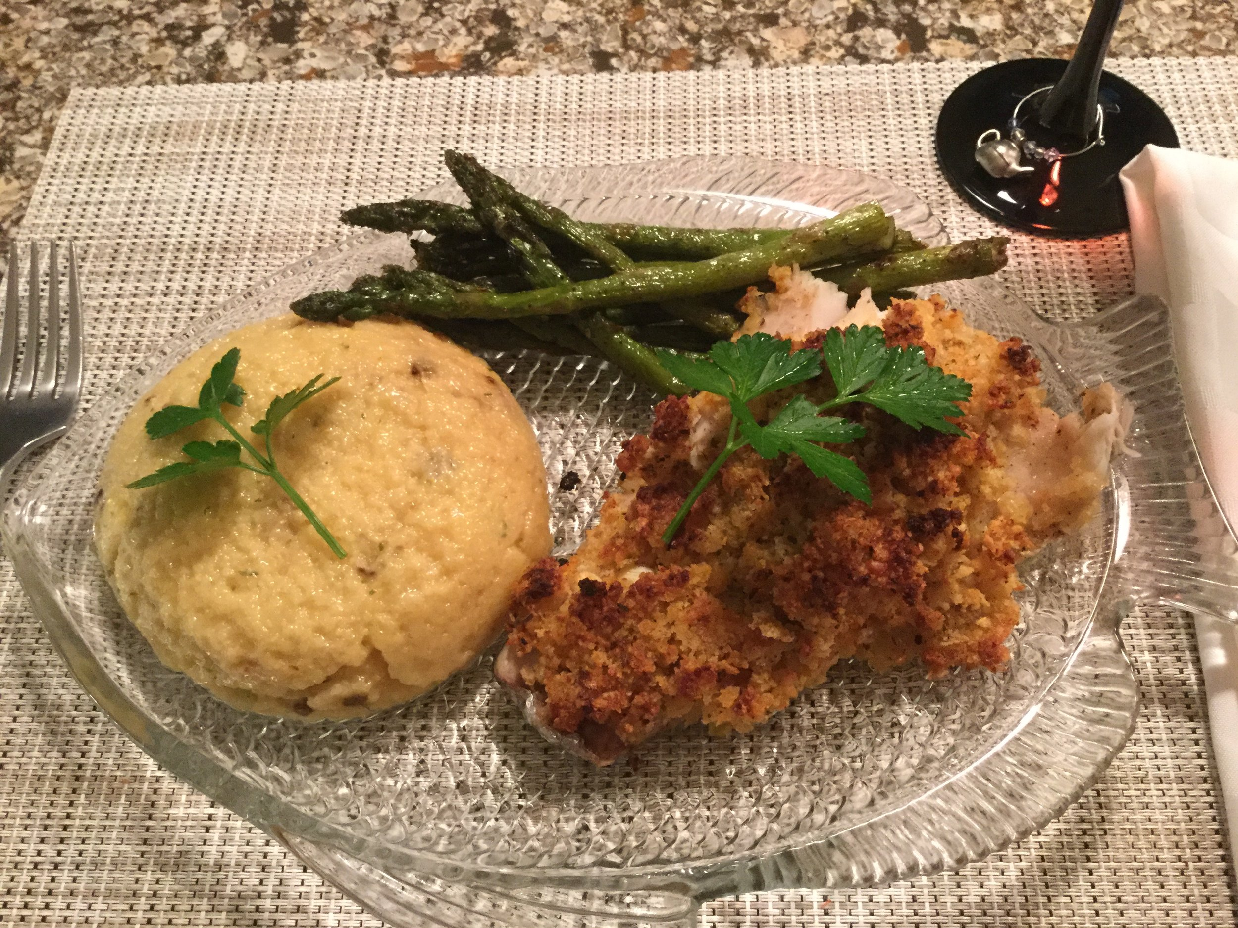 Parmesan Encrusted Striped Bass
