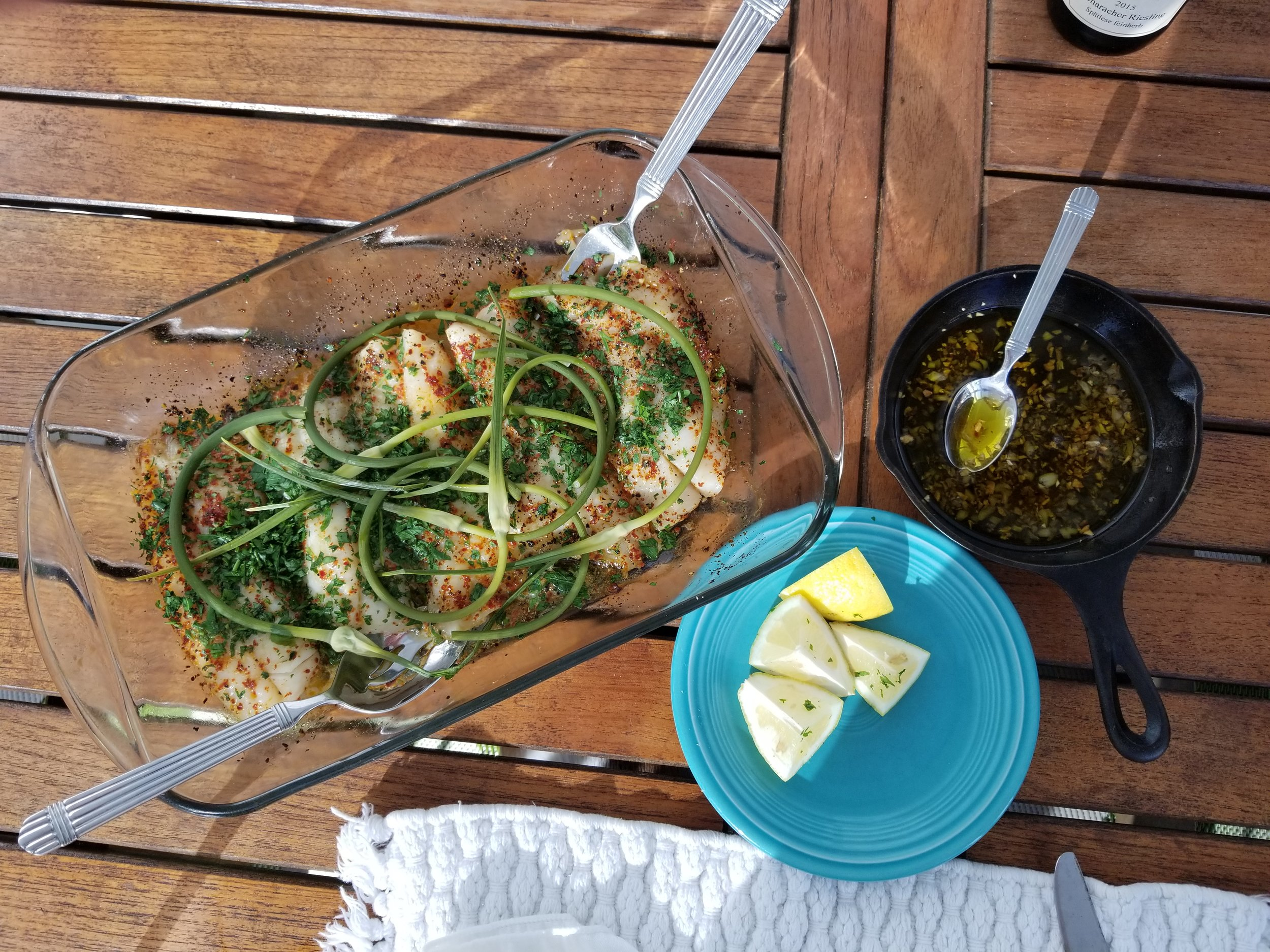 Mahi Mahi with Lemon, Parsley, Garlic scapes and garlic oil