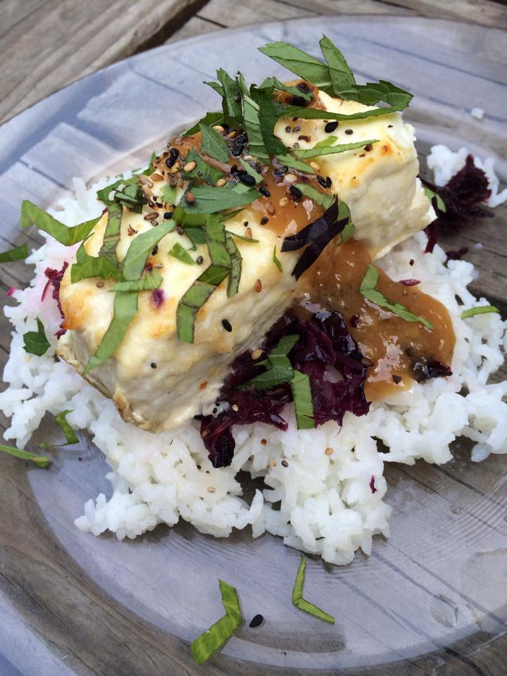 Miso-glazed halibut with sautéed purple cabbage