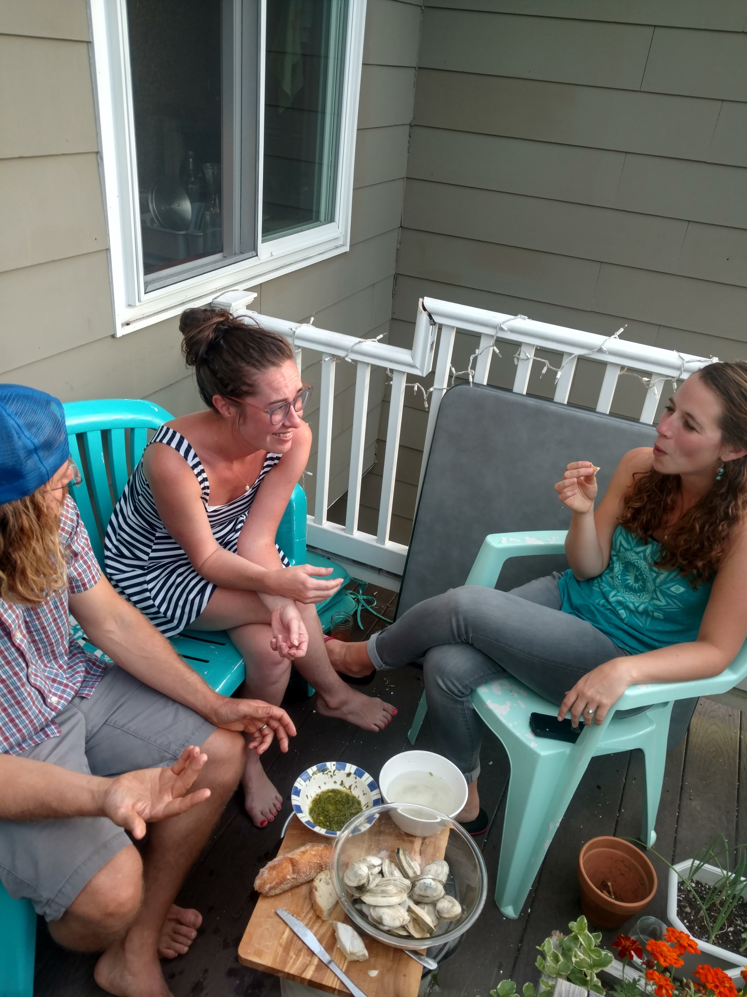 Friday night crew enjoying steamers out on the porch