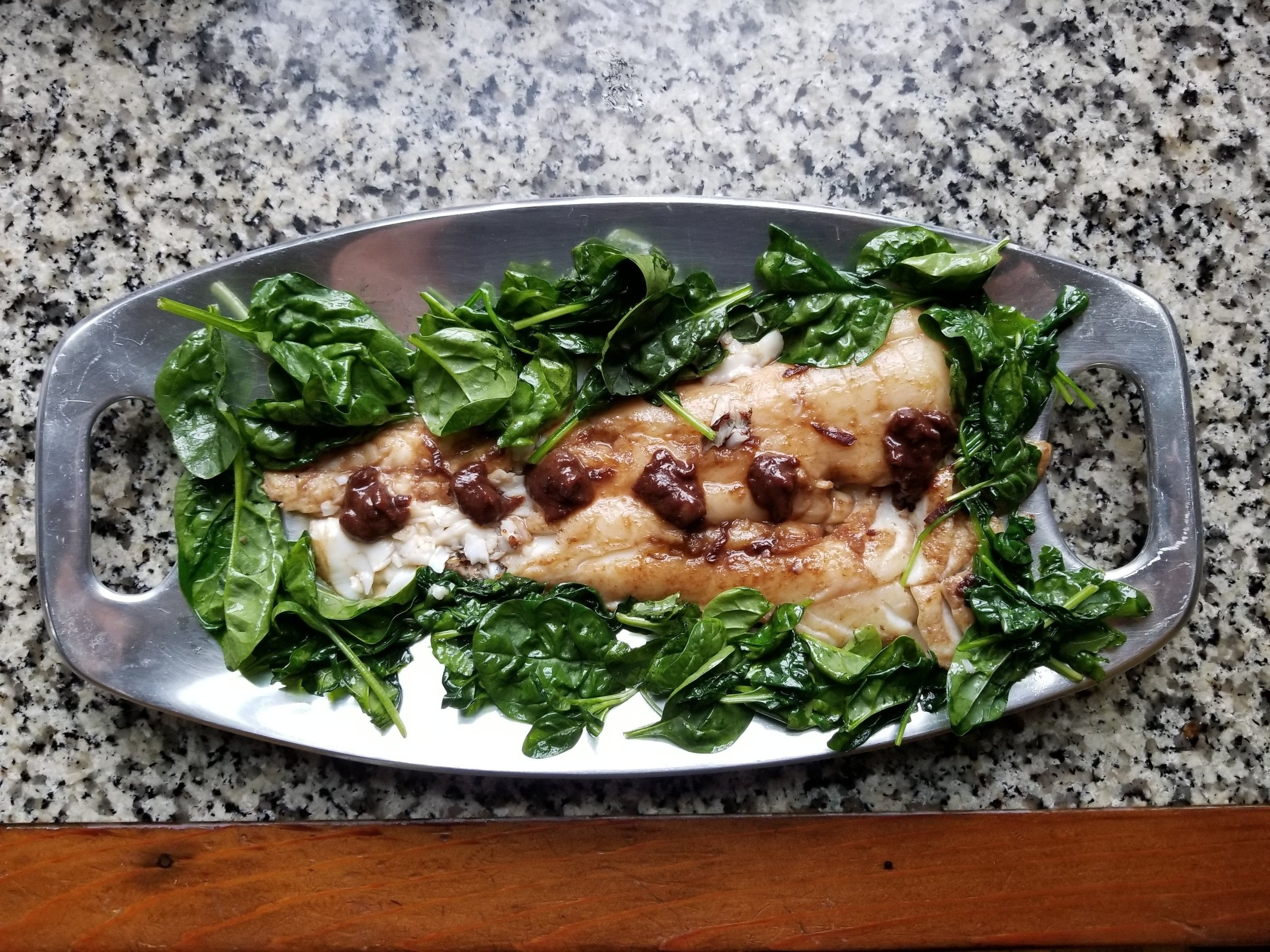 Grilled cod with red wine and miso butter