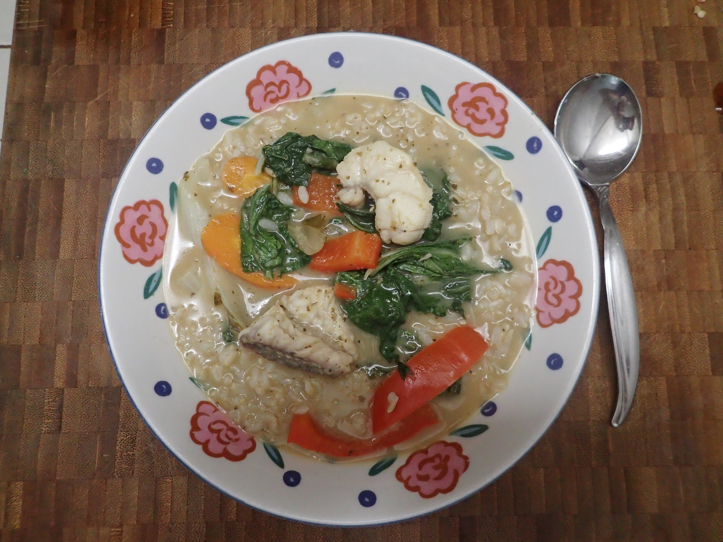 Thai green curry with a medley of vegetables and monkfish