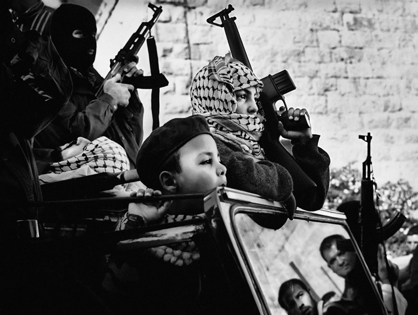 Young Fatah members at the funeral of a martyr