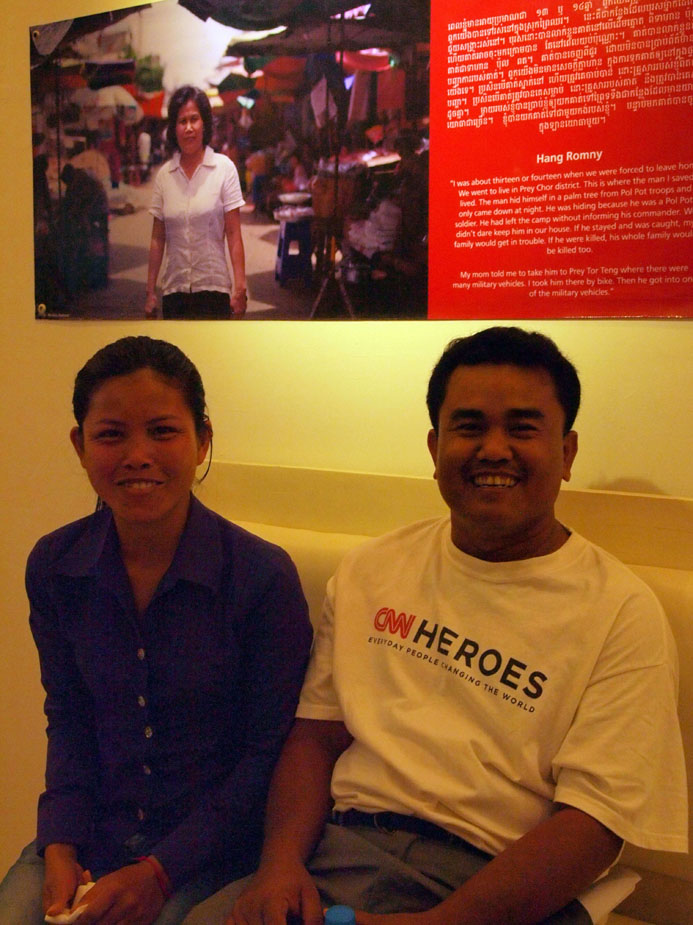 Aki Ra and a member of his Self-Help Demining team at the opening of the Rescuers exhibit in Phnom Penh, November 2011. Photo: Willhemina Wahlin