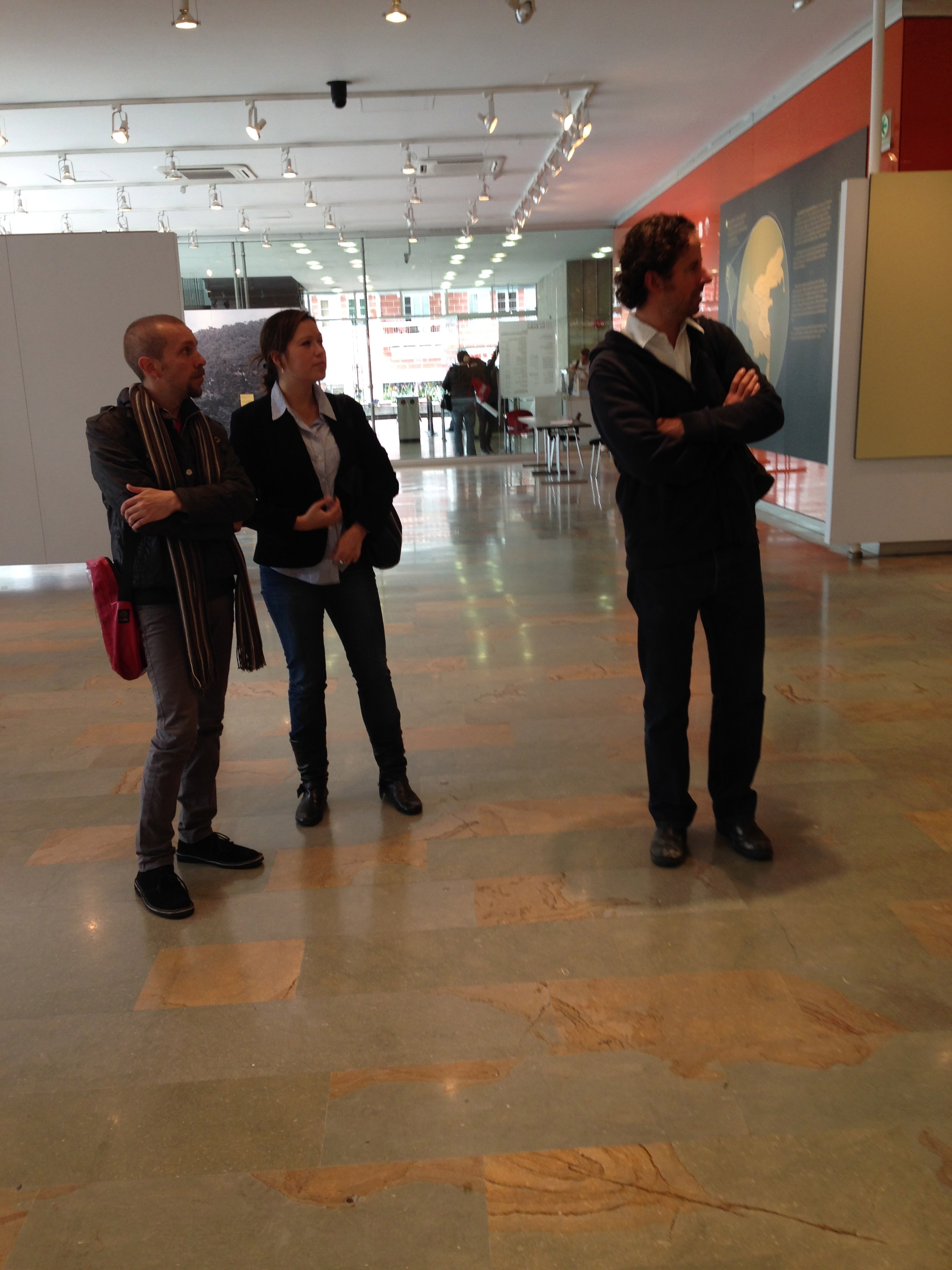 Touring the art gallery of the University of Los Andes with Lucas Ospina.